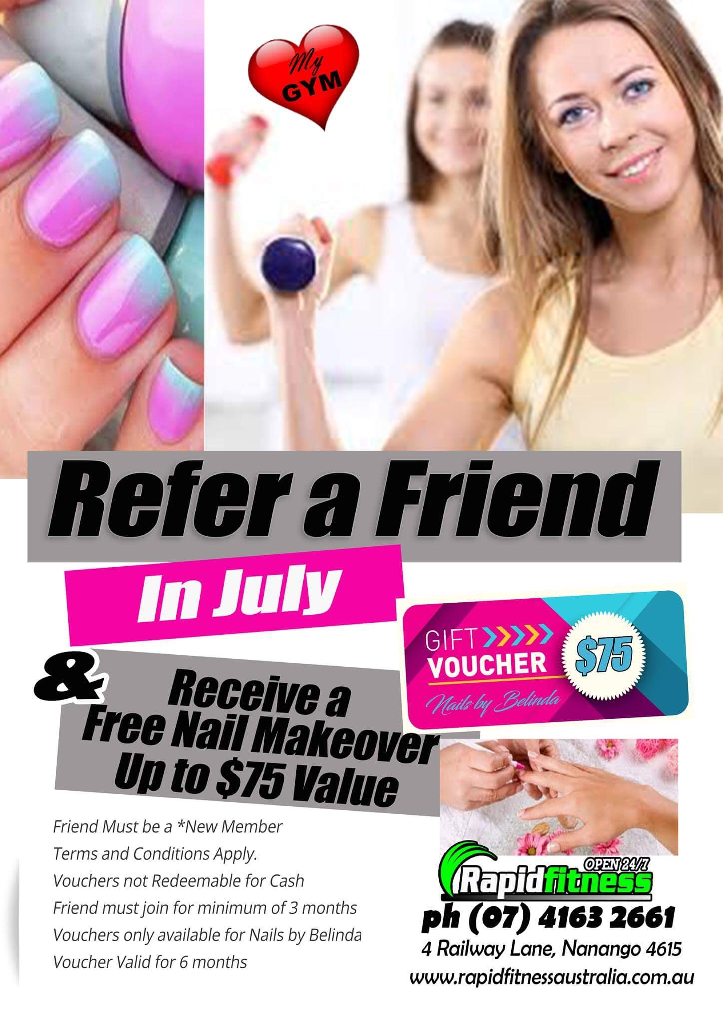 Refer a Friend in July and receive a free nail makeover!
